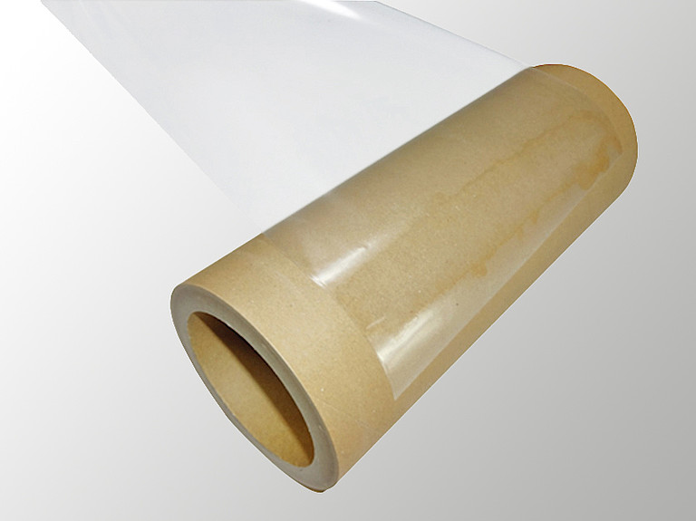 Paper core with adhesive